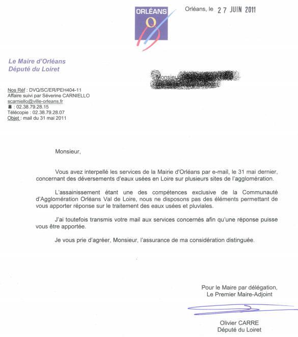 Réponse de la mairie d'orléans