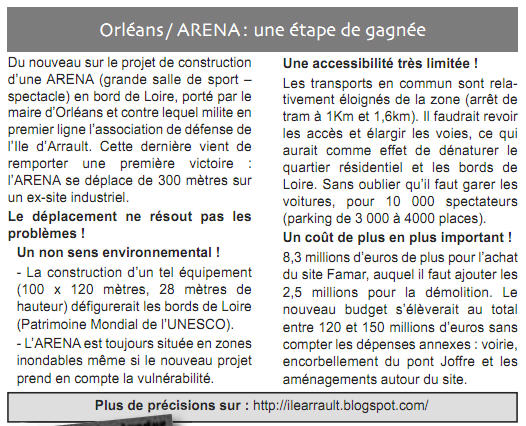 Orléans/ARENA : une étape de gagnée