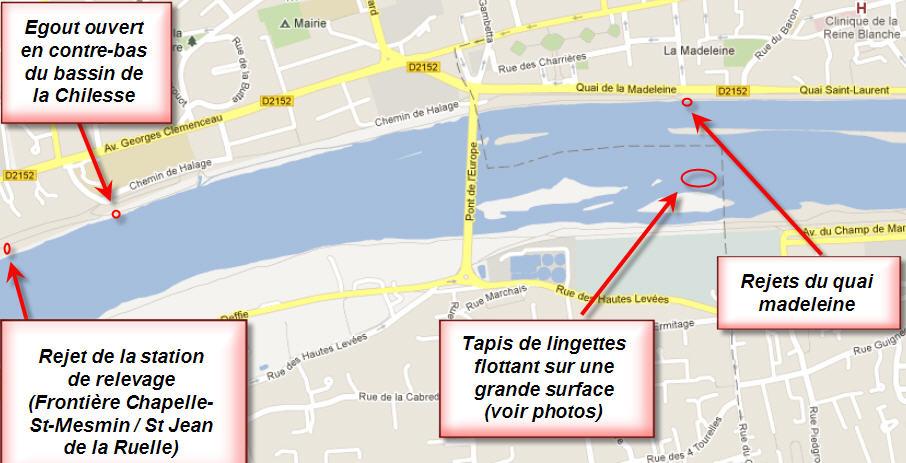 Quelques zones de rejets d'eaux usées en Loire autour d'Orléans