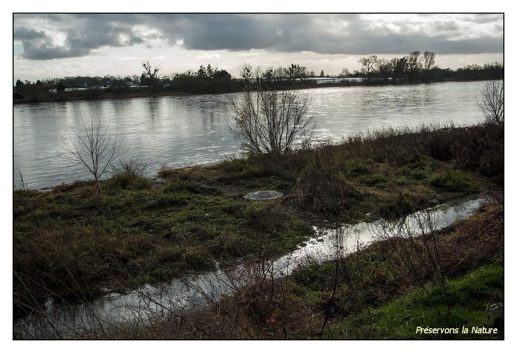 Conduite d'eaux usées sous le niveau de la Loire