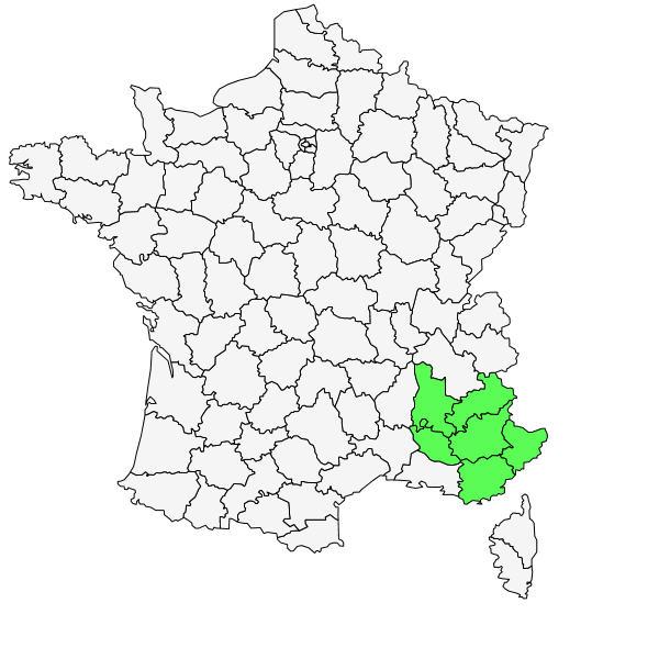 Répartition d'Aquilegia bertolonii Schott ( Ancolie de Bertoloni )