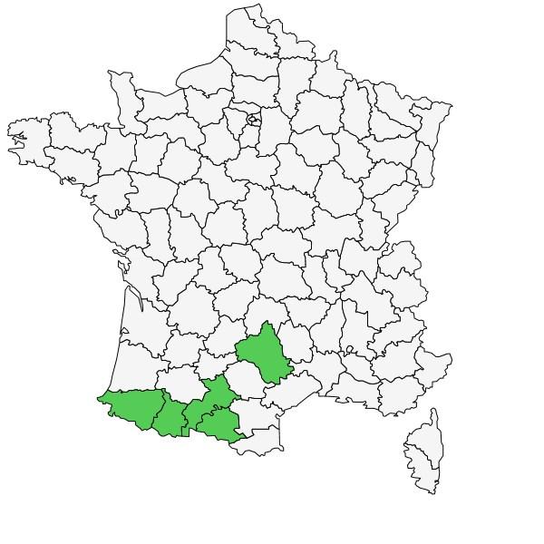 Répartition de Fritillaria pyrenaica L. ( Fritillaire des Pyrénées  )